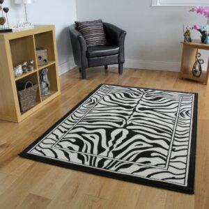 the rug house alfombra blanca y negra