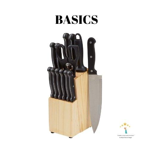 1. Basics - Juego de cuchillos de cocina y soporte