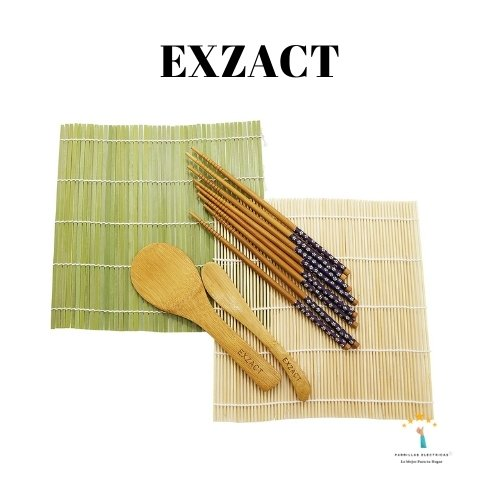 1.  EXZACT EX-SR08 Juego de 8 piezas para Preparar Sushi de Bambú