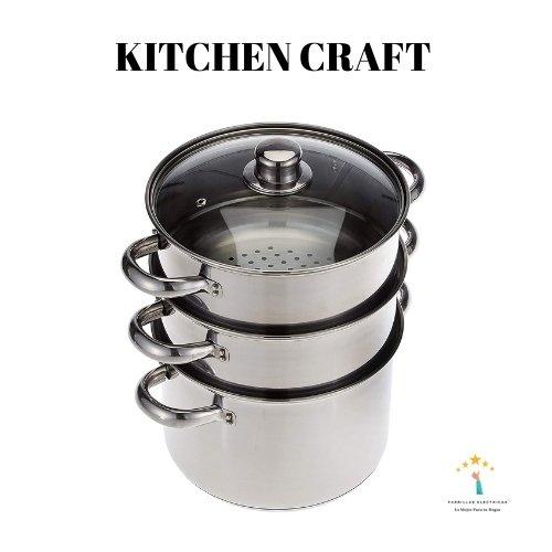 1. Juego de ollas vaporeras Kitchen Kraft