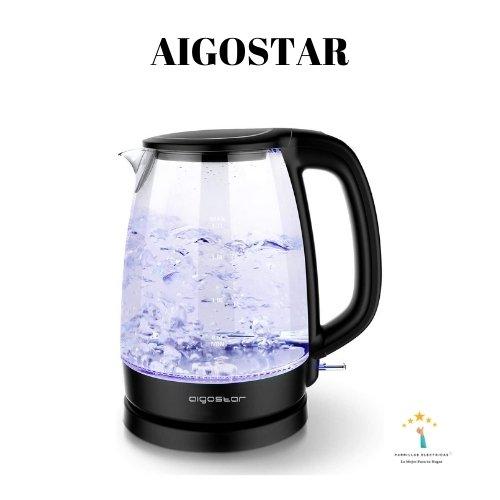 3. Aigostar Adam 30GOM- Hervidor de cristal con iluminación LED de 1,7 L