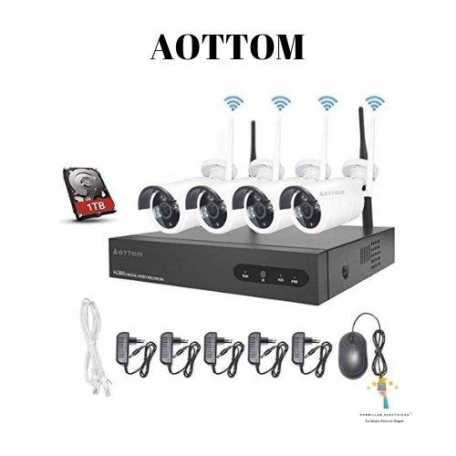 5.  Kit de videovigilancia WiFi Aottom - mejor sistema de seguridad para chalet